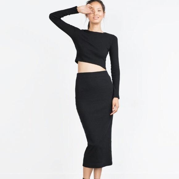 929893bb75e NWT Zara Black Tube Knit Ribbed Midi Skirt